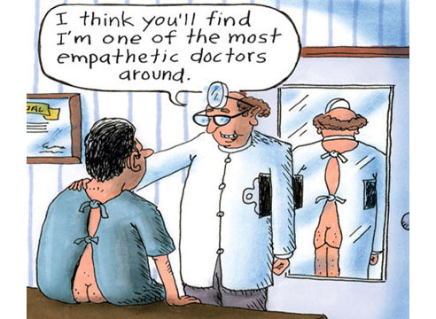 empathetic doctor with patient--humorous cartoon